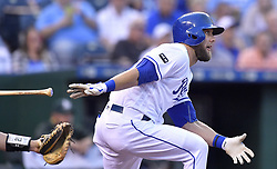 April 13, 2017 - Kansas City, MO, USA - The Kansas City Royals' Alex Gordon follows through on a single in the first inning against the Oakland Athletics at Kauffman Stadium in Kansas City, Mo., on Thursday, April 13, 2017. (Credit Image: © John Sleezer/TNS via ZUMA Wire)