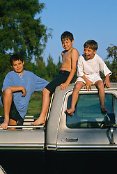 Three boys on top of a pickup truck