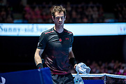 Andy Murray returns to his chair at a change of ends during the Andy Murray Live event at SSE Hydro, Glasgow, Scotland on 7 November 2017. Photo by Craig Doyle.