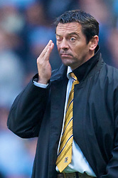 MANCHESTER, ENGLAND - Saturday, November 28, 2009: Hull City's manager Phil Brown looks dejected as his side conceed a late first half goal to Manchester City during the Premiership match at the City of Manchester Stadium. (Photo by David Rawcliffe/Propaganda)