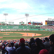 A panoramic view from the stands during the Boston Red Sox V Tampa Bay Rays, Major League Baseball game on Jackie Robinson Day, Fenway Park, Boston, Massachusetts, USA, 15th April, 2013. Photo Tim Clayton.