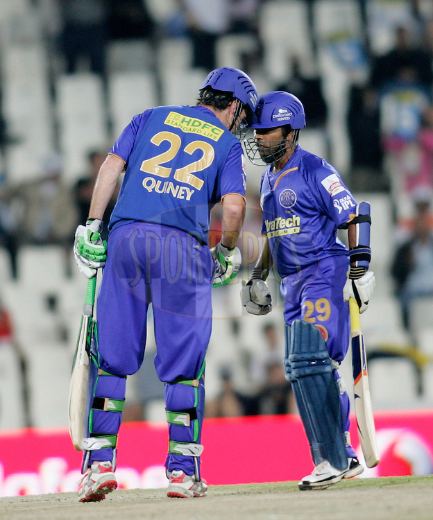 CENTURION, SOUTH AFRICA - 30 April 2009.  during the  IPL Season 2 match between the Rajasthan Royals and the Chennai Superkings held at  in Centurion, South Africa..Rajasthan Royals players Robert Quiney and Swapnll Asnodkar celebrates