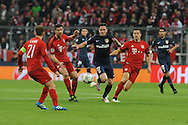 Saul Niguez of Atletico Madrid dances through the Bayern Munich defence during the UEFA Champions League match at Allianz Arena, Munich<br /> Picture by EXPA Pictures/Focus Images Ltd 07814482222<br /> 03/05/2016<br /> ***UK &amp; IRELAND ONLY***<br /> EXPA-EIB-160503-0071.jpg