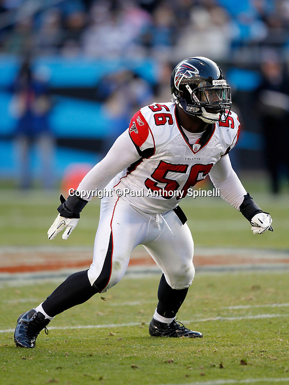 Atlanta Falcons outside linebacker Sean Weatherspoon (56) chases the action during the NFL week 14 football game against the Carolina Panthers on Sunday, December 11, 2011 in Charlotte, North Carolina. The Falcons won the game 31-23. ©Paul Anthony Spinelli