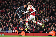 Arsenal Defender Nacho Monreal (18) takes a shot at goal but is blocked by CSKA Moscow Forward Vitinho (11) during the Europa League match between Arsenal and CSKA Moscow at the Emirates Stadium, London, England on 5 April 2018. Picture by Stephen Wright.