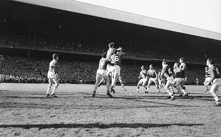 Meath defenders fall back to gaol to prevent Corks goal during the All Ireland Senior Gaelic Football Final Cork v. Meath in Croke Park on the 24th September 1967. Meath 1-9 Cork 0-9.