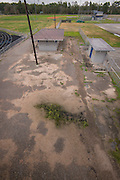 Surface around concessions and restrooms in disrepair in stadium at North Forest High School, February 23, 2015.