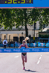 London, May 25th 2014. Gemma Steel wins the women's Bupa London 10,000 in a time of 32 minutes and 31 seconds.