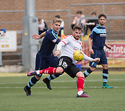 Clyde's David Goodwillie and Forfar's Thomas O'Brien during Forfar's 3-0 win over Clyde in SPFL League Two  at Station Park, Forfar, Photo: David Young<br /> <br />  - &copy; David Young - www.davidyoungphoto.co.uk - email: davidyoungphoto@gmail.com
