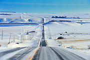 Wintery conditions on Highway 13<br /> Verwood<br /> Saskatchewan<br /> Canada