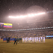 Teams line up a snow storm during the Argentina Vs Ecuador International friendly football match at MetLife Stadium, New Jersey. USA. 31st march 2015. Photo Tim Clayton
