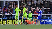 Joe Bunney Scores for Rochdale 4-1 during the Sky Bet League 1 match between Rochdale and Southend United at Spotland, Rochdale, England on 25 March 2016. Photo by Daniel Youngs.