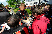 AFC Bournemouth goalkeeper Artur Boruc signing his autograph for a fan on arrival for the Premier League match between Bournemouth and Burnley at the Vitality Stadium, Bournemouth, England on 13 May 2017. Photo by Graham Hunt.