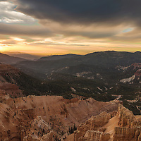 Sunset sky over Cedar Breaks National Monument, near Brian Head, Utah