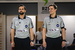 Referees Bojan Lah in David Sok before friendly handball match between Slovenia and Nederland, on October 25, 2019 in Športna dvorana Hardek, Ormož, Slovenia. Photo by Blaž Weindorfer / Sportida