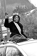 Ms. Maryland International, Angela McCoy, waves during the Dr. Martin Luther King, Jr. Parade in Baltimore, MD on Monday, January 17, 2011.