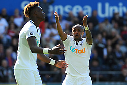 Andre Ayew of Swansea City shows his frustration as Tammy Abraham of Swansea City misses a chance to level the scoreline -Mandatory by-line: Nizaam Jones/JMP- 13/05/2018 - FOOTBALL - Liberty Stadium - Swansea, Wales - Swansea City v Stoke City - Premier League