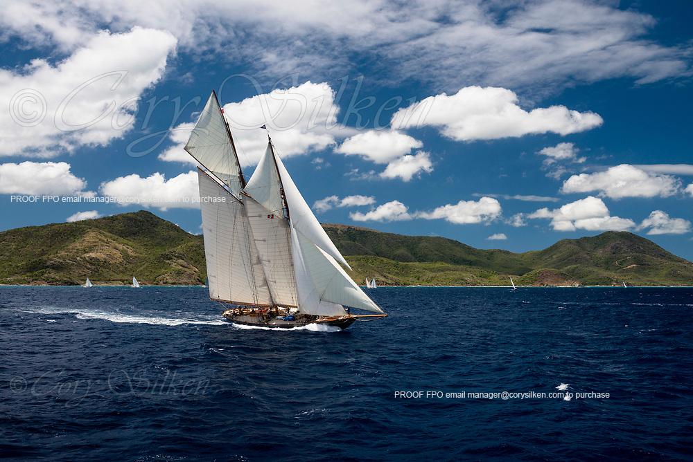 Mariette sailing in the Antigua Classic Yacht Regatta, Butterfly Race.