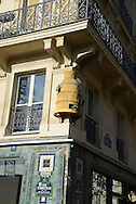 France. Paris. 1st district. hive in les halles       /    decoration Ruche angle   rue Rambuteau et rue Pierre Lescot 75001