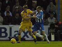 Photo: Olly Greenwood.<br />Colchester United v Leicester City. Coca Cola Championship. 13/01/2007. Leicester's Garet McAuley and Colchester's Johnnie Jackson