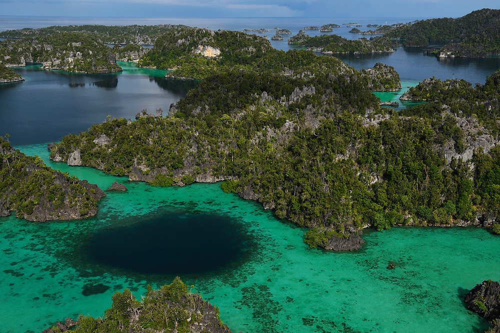 "Karst landscapes in Misool archipelago, Raja Ampat, Western Papua, Indonesian controlled New Guinea, on then Science et Images ""Expedition Papua, in the footsteps of Wallace"", by Iris Foundation"
