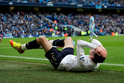MANCHESTER, ENGLAND - Sunday, January 22, 2011: Tottenham Hotspur's Gareth Bale looks dejected as his team-mate misses a chance to win the game during the Premiership match against Manchester City at the City of Manchester Stadium. (Pic by David Rawcliffe/Propaganda)