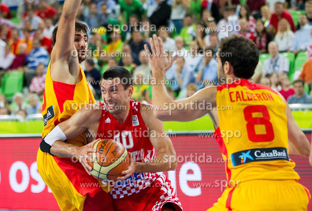 Ricky Rubio #9 of Spain and Jose Calderon #8 of Spain vs Roko Leni Ukic #10 of Croatia during basketball match between National teams of Spain and Croatia in 3rd Place game at Day 19 of Eurobasket 2013 on September 22, 2013 in Arena Stozice, Ljubljana, Slovenia. (Photo by Vid Ponikvar / Sportida)