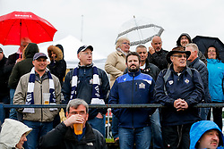 Bristol Rugby travelling supporters brave the rain before kick off - Mandatory byline: Rogan Thomson/JMP - 18/05/2016 - RUGBY UNION - Castle Park - Doncaster, England - Doncaster Knights v Bristol Rugby - Greene King IPA Championship Play Off FINAL 1st Leg.