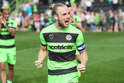 Forest Green Rovers Joseph Mills(23) applauds the fans at the final whistle during the EFL Sky Bet League 2 match between Forest Green Rovers and Cambridge United at the New Lawn, Forest Green, United Kingdom on 22 April 2019.