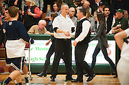 Burlington head coach Matt Johnson (left) and Rice head coach Paul Pecor talk to each other prior to the boys basketball game between the Burlington Seahorses and the Rice Green knights at Rice Memorial high School on Thursday night January 7, 2016 in South Burlington. (BRIAN JENKINS/for the FREE PRESS)