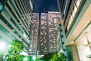 Business office buildings at night, Tokyo, Japan.