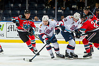 KELOWNA, CANADA - NOVEMBER 21:  Austin Pratt #10 skates away with the puck after the face off by Jake Leschyshyn #19 of the Regina Pats against Kyle Topping #24 of the Kelowna Rockets on November 21, 2018 at Prospera Place in Kelowna, British Columbia, Canada.  (Photo by Marissa Baecker/Shoot the Breeze)
