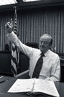 1977, Minneapolis, Minnesota, USA --- Democratic Senator and former Vice President Hubert Humphrey practices a speech. --- Image by © Owen Franken/CORBIS