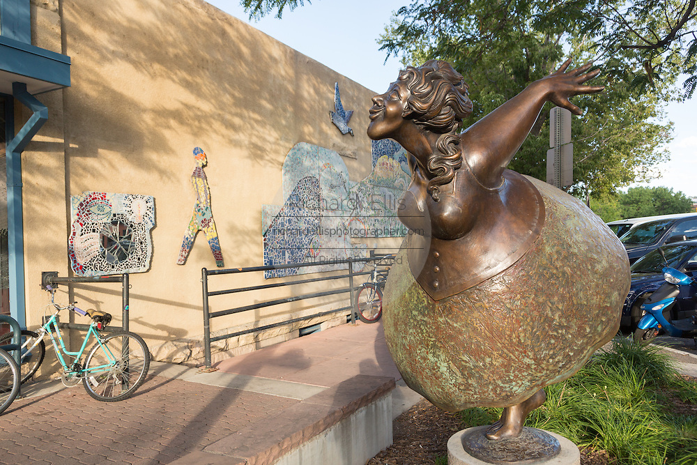 Free to Dance sculpture by artist James Lynxwiler in the Old Town historic shopping and restaurant district in Fort Collins, Colorado.