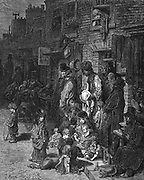 Wentworth Street, Whitechapel', the poor Jewish quarter of the city: From Gustave Dore and Blanchard Jerrold 'London: A Pilgrimage'  London 1872. Wood engraving