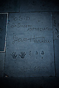 Los Angeles, April 7 2012- Jean Harlow's signature, hand and shoe prints into cement at the Graumanâs Chinese Theater. Marilyn Monroe used to come and touch it when she was a kid.