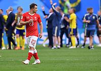 FUSSBALL  WM 2018  Achtelfinale  ------ Schweden - Schweiz   03.07.2018 Xherdan Shaqiri (Schweiz) ist nach dem Abpfiff enttaeuscht