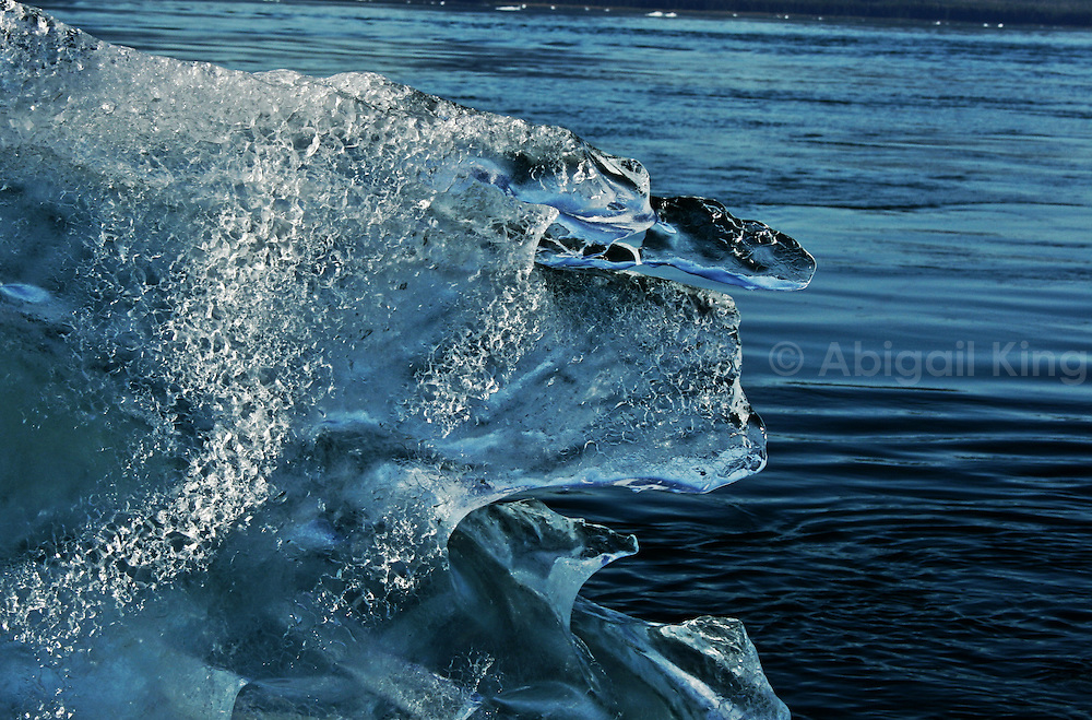 Images of icebergs on a sunny day in Alaska. Taken in LeConte Glacier Bay in the USA, these natural icy sculptures of floating ice are a common feature here.