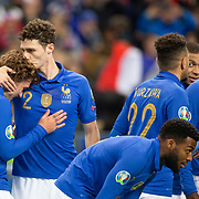 PARIS, FRANCE - March 25:  Antoine Griezmann #7 of France gets a kiss on the head from team mate Benjamin Pavard #2 of France after scoring during the France V Iceland, 2020 European Championship Qualifying, Group Stage at  Stade de France on March 25th 2019 in Paris, France (Photo by Tim Clayton/Corbis via Getty Images)