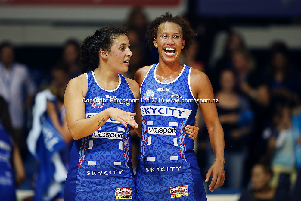 Serena Guthrie and Nadia Loveday of the Mystics celebrate after the win. 2016 ANZ Championship, Northern Mystics v Adelaide Thunderbirds, The Trusts Arena, Auckland, New Zealand. 2 May 2016. Photo: Anthony Au-Yeung / www.photosport.nz
