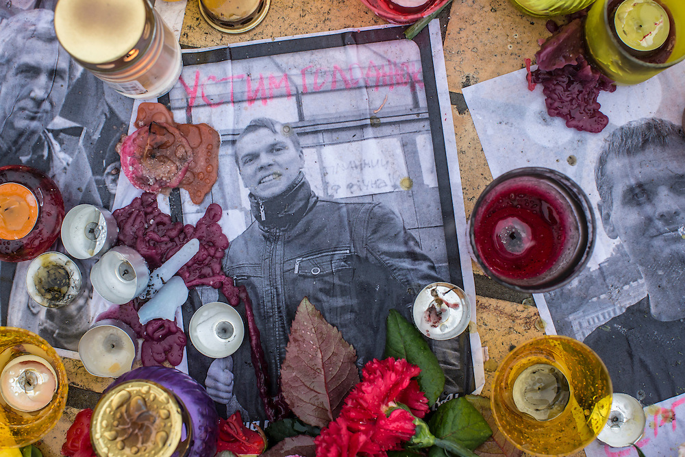 KIEV, UKRAINE - FEBRUARY 23: A memorial to anti-government protesters killed in clashes with police outside the St. Sophia Cathedral on February 23, 2014 in Kiev, Ukraine. After a chaotic and violent week, Viktor Yanukovych has been ousted as President as the Ukrainian parliament moves forward with scheduling new elections and establishing a caretaker government. (Photo by Brendan Hoffman/Getty Images) *** Local Caption ***