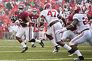 FAYETTEVILLE, AR - OCTOBER 11:  Jonathan Williams #32 of the Arkansas Razorbacks runs the ball and tries to avoid the tackle by Xzavier Dickson #47 of the Alabama Crimson Tide at Razorback Stadium on October 11, 2014 in Fayetteville, Arkansas.  The Crimson Tide defeated the Razorbacks 14-13.  (Photo by Wesley Hitt/Getty Images) *** Local Caption *** Brandon Allen; Xzavier Dickson