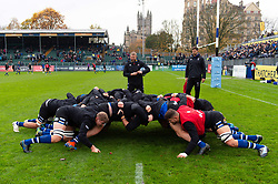 The Bath Rugby forwards practise their scrum during the pre-match warm-up - Mandatory byline: Patrick Khachfe/JMP - 07966 386802 - 09/11/2019 - RUGBY UNION - The Recreation Ground - Bath, England - Bath Rugby v Northampton Saints - Gallagher Premiership