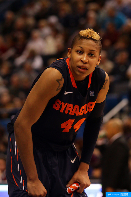 Carmen Tyson-Thomas, Syracuse, in action during the Connecticut V Syracuse Semi Final match during the Big East Conference, 2013 Women's Basketball Championships at the XL Center, Hartford, Connecticut, USA. 11th March. Photo Tim Clayton