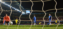 LONDON, ENGLAND - Wednesday, May 6, 2009: Chelsea's goalkeeper Petr Cech and John Terry look utterly dejected as Barcelona score a dramatic injury time winning away goal during the UEFA Champions League Semi-Final 2nd Leg match at Stamford Bridge. (Photo by David Rawcliffe/Propaganda)