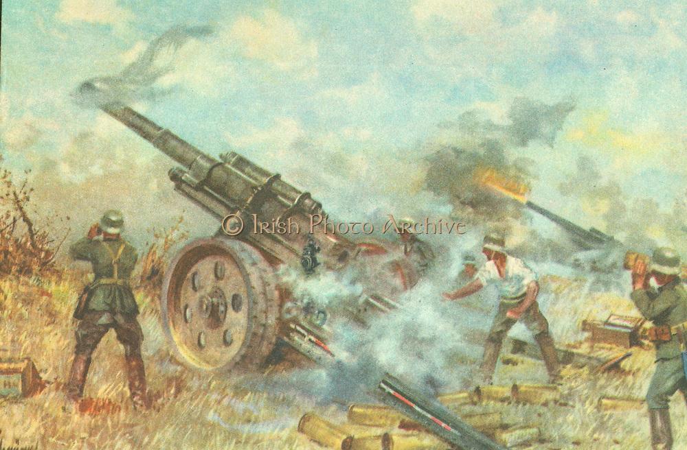 Russian postcard showing german artillery battery firing on a Russian position. World War II circa 1942