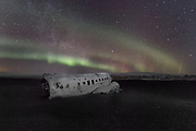 Abandoned Sólheimasandur airplane wreckage is located on Iceland's Southern coast. United States Navy DC plane