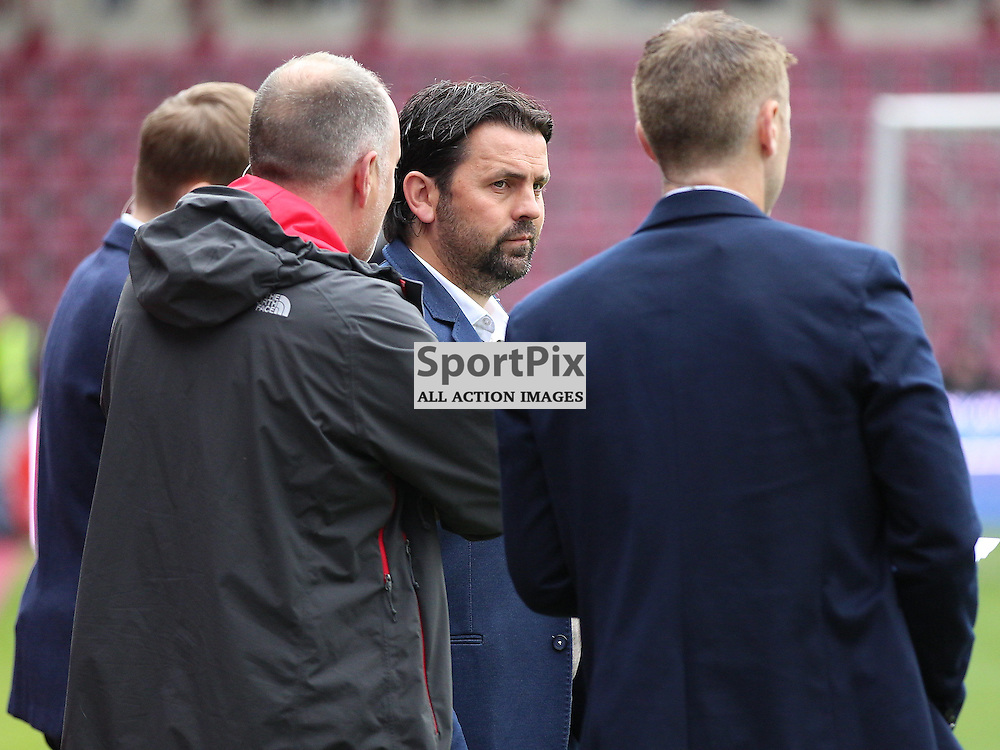 Hearts v St Johnstone Scottish Premiership 2 August 2015; Ex-Hearts and current Dundee manager, Paul Hartley, working for BT Sport today, before the Heart of Midlothian v St Johnstone Scottish Premiership match played at Tynecastle Stadium, Edinburgh; <br /> <br /> &copy; Chris McCluskie | SportPix.org.uk