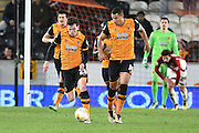 Hull City midfielder Jake Livermore (14) and Hull City defender Andrew Robertson (26)  make headway up the field during the Sky Bet Championship match between Hull City and Brentford at the KC Stadium, Kingston upon Hull, England on 26 April 2016. Photo by Ian Lyall.