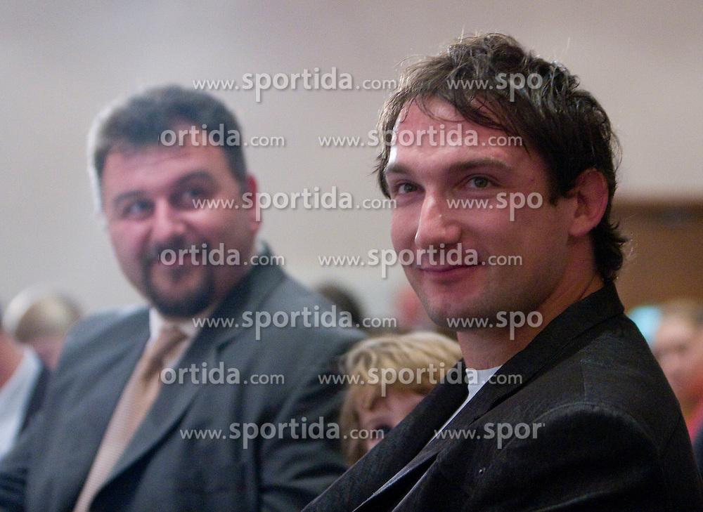 Vladimir Kevo and Primoz Kozmus at Best Slovenian athlete of the year ceremony, on November 15, 2008 in Hotel Lev, Ljubljana, Slovenia. (Photo by Vid Ponikvar / Sportida)